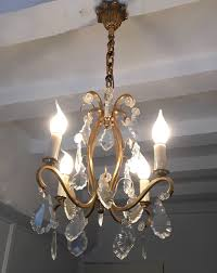 antique french gilt bronze chandelier with crystal droplets la85345 loveantiques com