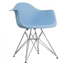dar molded light blue plastic dining armchair with steel eiffel legs