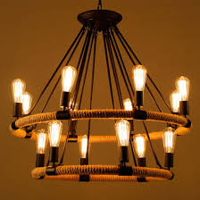 antique style vintage industrial hemp rope chandelier lights