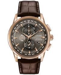 citizen men s world chronograph time at eco drive brown leather citizen men s world chronograph time at eco drive brown leather strap watch 43mm at8113