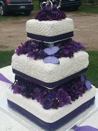 Purple Flowers And Butterfly Wedding Cake Cakecentralcom