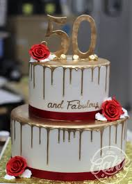 2 Tiered Gold Drip 50th Birthday Cake