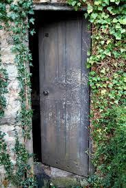 old open wooden door overgrown with ivy stock image image of wall ajar