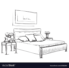 Bedroom Interior Design Sketches Bedroom Interior Sketch Hand Drawn Furniture