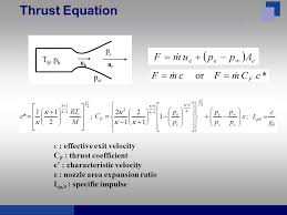 7 thrust equation c effective exit velocity c f thrust coefficient c characteristic velocity ε nozzle area expansion ratio i sp 0 specific
