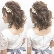 ミディアムボブふんわり可愛いブライダルヘア髪型まとめ Marry