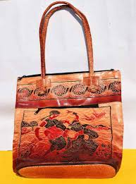 hand painted leather tote bag cra 512