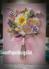 Paper Quilling Flower Bokeh Paper Quilling Art Spring Flower Bouquet Card Mothers Day