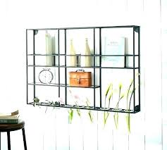 decorative metal shelves wall mounted shelf unit with glass rack pottery barn wood and garden