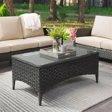 corliving wide rattan patio coffee
