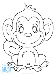 So, of course, we had to printable monkey coloring pages address different species of monkeys, such as macaque and capuchin. Cute Baby Monkey Coloring Page For Kids Simple Mom Project