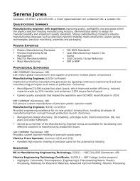 Template Sample Resume For A Midlevel Manufacturing Engineer