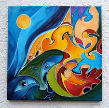 amans honigsperger artwork abstract birds original painting acrylic abstract art