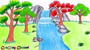 Vẽ tranh phong cảnh : Thác Nước | How to draw a Waterfall