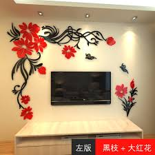 crystal three dimensional wall stickers living room tv wall acrylic d sofa background flower vine erfly