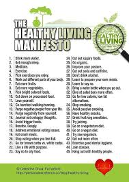 Healthy Living Chart The Healthy Living Manifesto Chart Living A Healthy Life