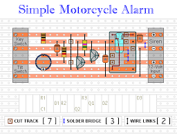 how to build a simple motorcycle alarm veroboard layout for motorcycle alarm no 4