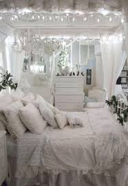 Bedroom with white ruffled bedding