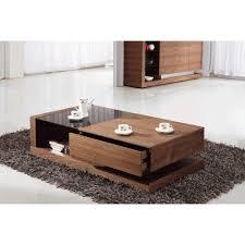 giomani designs alpha black glass and walnut storage coffee table