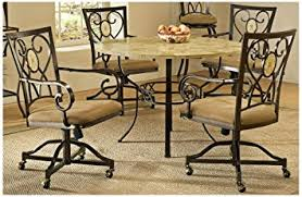 brookside 5 pc round dining set w oval caster chair