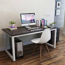office desk for bedroom. Modern Walnut Wooden \u0026 Metal Computer PC Home Office Desk / Study Table Bedroom For M