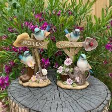 blue birds welcome garden sign bird