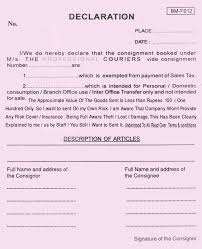 Declaration Format For Courier 2 Heegan Times