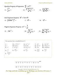 properties of rational exponents review page 2