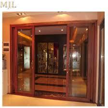 modern design aluminum frame clad wooden profile sliding glass door