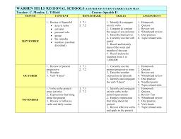 Spanish 2 Curriculum Map Warren Hills Regional School District
