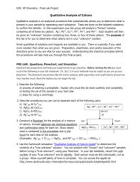 Chs Ap Chemistry Final Lab Project Qualitative Analysis Of