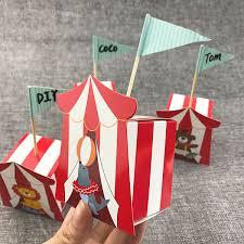 <b>20pcs lot</b> Cartoon Circus <b>Candy Box Red</b> Striped Kids Birthday Party ...
