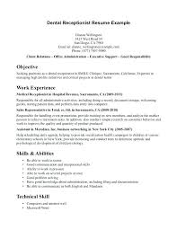 Skills And Abilities Example Resumes Dental Receptionist Resume Examples Resume Example For Dental