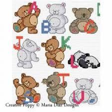 Teddy Bear Alphabet Cross Stitch Pattern By Maria Diaz