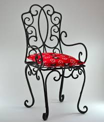 small size vintage wrought iron chair shelf black handmade metal chair red cushion teddy bear home decor doll chair black wrought iron furniture