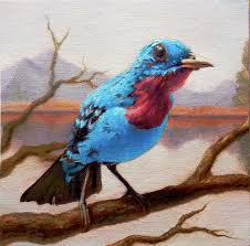 tweet oil painting by artist julie beck blue birdart