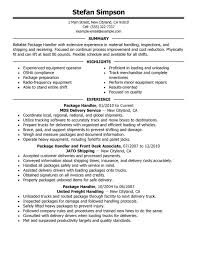Package Handler Resume Sample