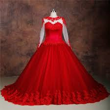 ball gown for plus size ball gown see through long sleeve red tulle lace plus size wedding dress
