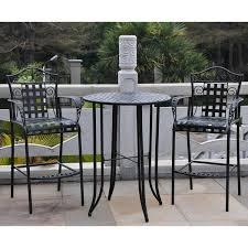 international caravan mandalay outdoor iron bar bistro set set of 3 wrought iron swivel patio chairs