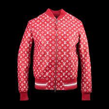 supreme x louis vuitton leather blouson er monogram jacket leather fabriqe
