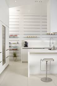 enthralling modern kitchens. Contemporary White Themes Mini Kitchen Furnishing Ideas With Counter Island Added Modern Chrome High Swivel Stools As Well Flaoting Shelves In Enthralling Kitchens