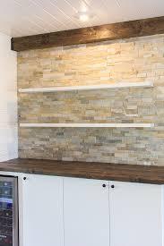 kitchen chronicles stacked stone bar wall diy floating shelves jenna sue design blog