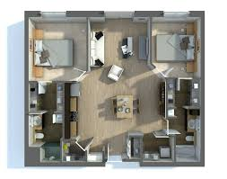 4 Bedroom 3 Bath Open Floor Plan 2 Bedroom Apartment House Plans