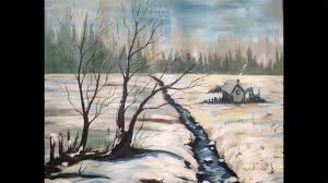 acrylic painting tutorial winter snow scene landscape big canvas you