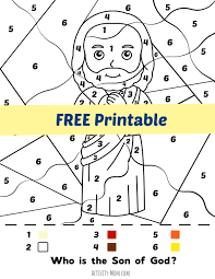 You'll find many coloring pages to print below for preschool this printable christmas coloring page of jesus and mary can be made into a free printable christmas card by using the booklet setting on your computer. The Activity Mom Jesus Color By Number Free Printable The Activity Mom