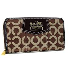 Latest Coach In Signature Large Coffee Wallets Axm Sale C29u1
