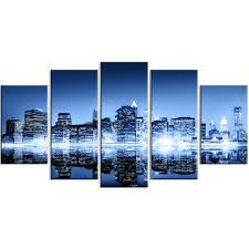 designart night new york city mirrored 5 piece wall art on wrapped canvas set wayfair on mirror wall art 5 piece set with designart night new york city mirrored 5 piece wall art on wrapped