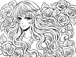 Small Picture Complex coloring pages anime girl and flowers ColoringStar