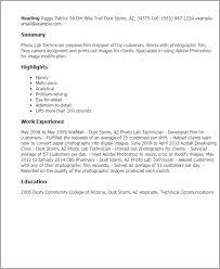 Resume Templates: Photo Lab Technician
