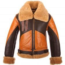 details about raf b3 brown er fur shearling two tone real sheepskin leather men s jacket